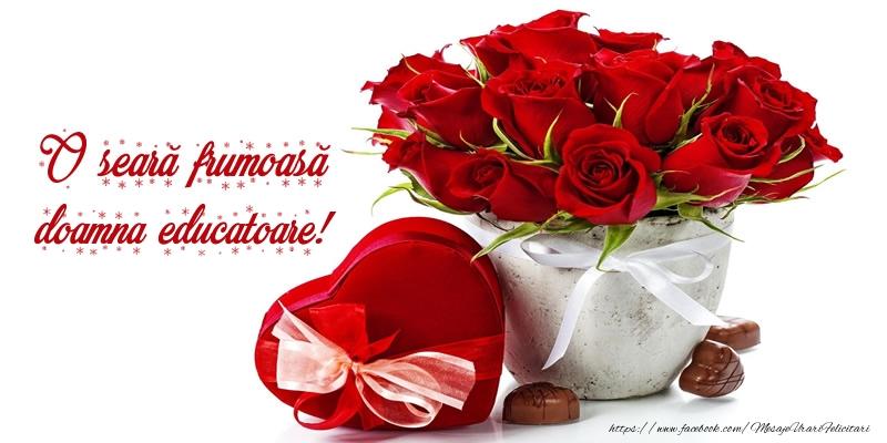 Felicitari frumoase de buna seara pentru Educatoare | Felicitare cu flori: O seară frumoasă doamna educatoare!