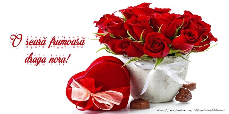 Felicitari frumoase de buna seara pentru Nora | Felicitare cu flori: O seară frumoasă draga nora!