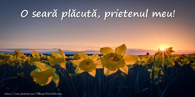 Felicitari frumoase de buna seara pentru Prieten | Flori: O seară plăcută, prietenul meu!