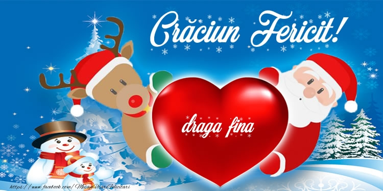 Felicitari frumoase de Craciun pentru Fina | Craciun Fericit! draga fina