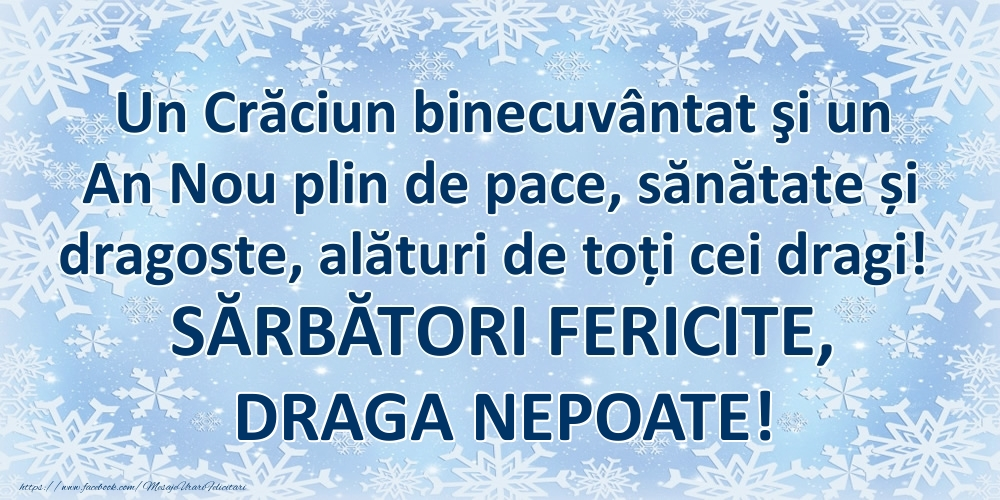 Felicitari frumoase de Craciun pentru Nepot   Un Crăciun binecuvântat şi un An Nou plin de pace, sănătate și dragoste, alături de toți cei dragi! SĂRBĂTORI FERICITE, draga nepoate!