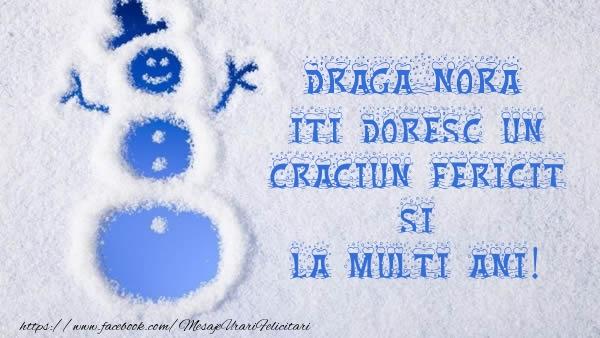 Felicitari frumoase de Craciun pentru Nora | Draga nora iti doresc un Craciun Fericit si La multi ani!
