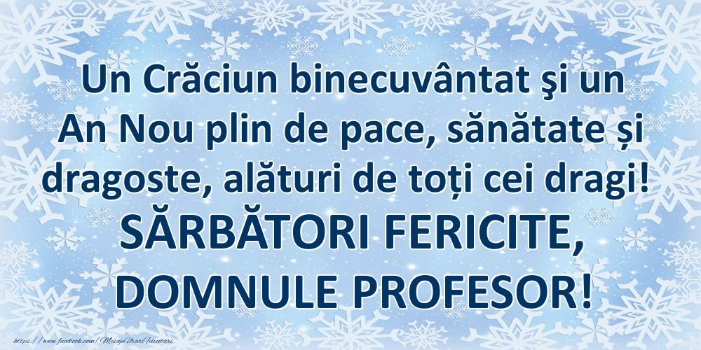 Felicitari frumoase de Craciun pentru Profesor | Un Crăciun binecuvântat şi un An Nou plin de pace, sănătate și dragoste, alături de toți cei dragi! SĂRBĂTORI FERICITE, domnule profesor!