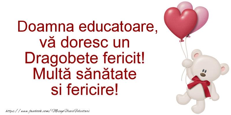 Felicitari frumoase de Dragobete pentru Educatoare | Doamna educatoare va doresc un Dragobete fericit! Multa sanatate si fericire!