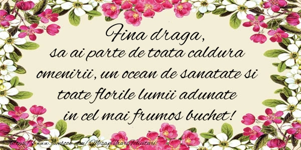 Felicitari frumoase de la multi ani pentru Fina | Fina draga, sa ai parte de toata caldura omenirii, un ocean de sanatate si toate florile lumii adunate in cel mai frumos buchet!