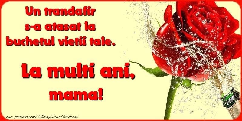 Felicitari frumoase de la multi ani pentru Mama   Un trandafir s-a atasat la buchetul vietii tale. mama