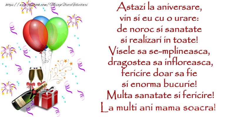 Felicitari frumoase de la multi ani pentru Soacra | Astazi la aniversare,  vin si eu cu o urare:  de noroc si sanatate  ... Multa sanatate si fericire! La multi ani mama soacra!