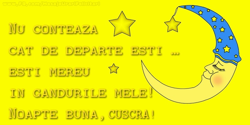 Felicitari frumoase de noapte buna pentru Cuscra | Nu conteaza  cat de departe esti …  esti mereu in  gandurile mele!  Noapte buna, cuscra