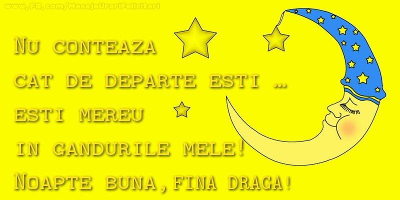Felicitari frumoase de noapte buna pentru Fina | Nu conteaza  cat de departe esti …  esti mereu in  gandurile mele!  Noapte buna, fina draga
