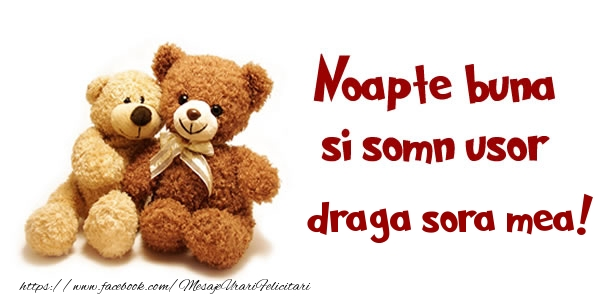 Felicitari frumoase de noapte buna pentru Sora | Noapte buna si Somn usor draga sora!