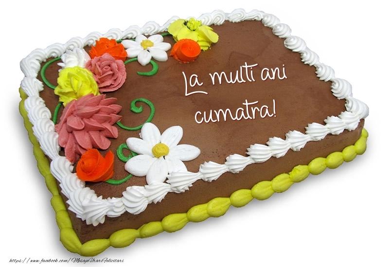 Felicitari frumoase de zi de nastere pentru Cumatra | Tort de ciocolata cu flori: La multi ani cumatra!
