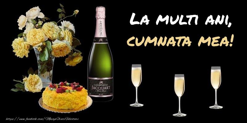 Felicitari frumoase de zi de nastere pentru Cumnata | Felicitare cu sampanie, flori si tort: La multi ani, cumnata mea!
