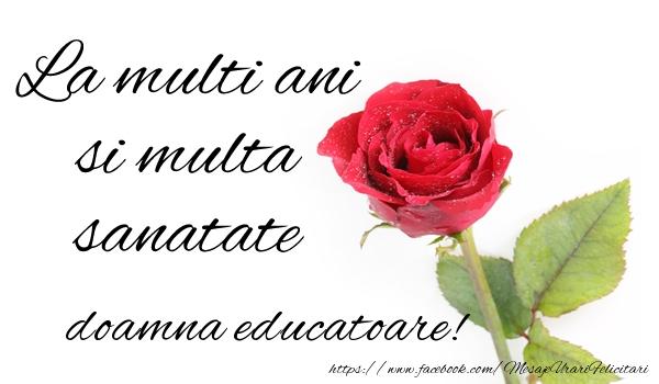 Felicitari frumoase de zi de nastere pentru Educatoare | La multi ani si multa sanatate doamna educatoare!