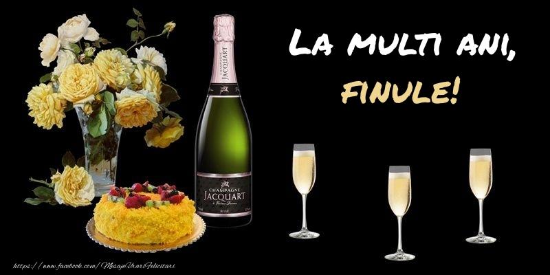 Felicitari frumoase de zi de nastere pentru Fin | Felicitare cu sampanie, flori si tort: La multi ani, finule!