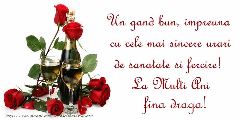 Felicitari frumoase de zi de nastere pentru Fina | Un gand bun, impreuna cu cele mai sincere urari de sanatate si fercire! La Multi Ani fina draga!