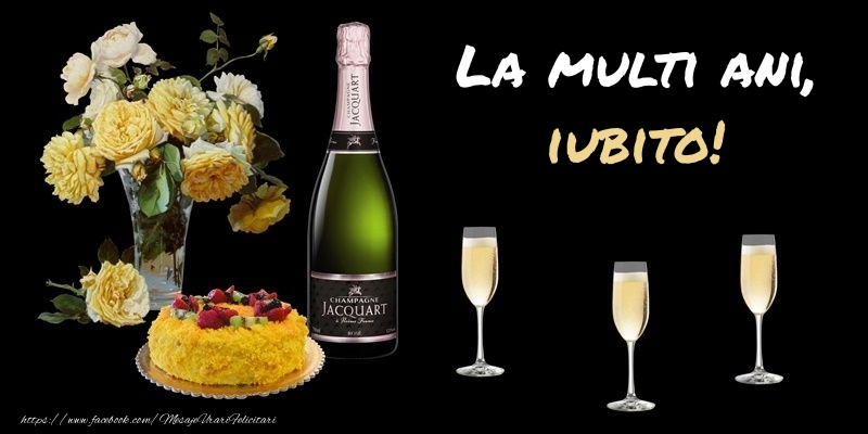 Felicitari frumoase de zi de nastere pentru Iubita | Felicitare cu sampanie, flori si tort: La multi ani, iubito!