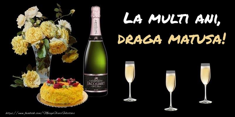Felicitari frumoase de zi de nastere pentru Matusa | Felicitare cu sampanie, flori si tort: La multi ani, draga matusa!
