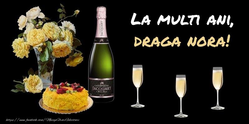 Felicitari frumoase de zi de nastere pentru Nora | Felicitare cu sampanie, flori si tort: La multi ani, draga nora!