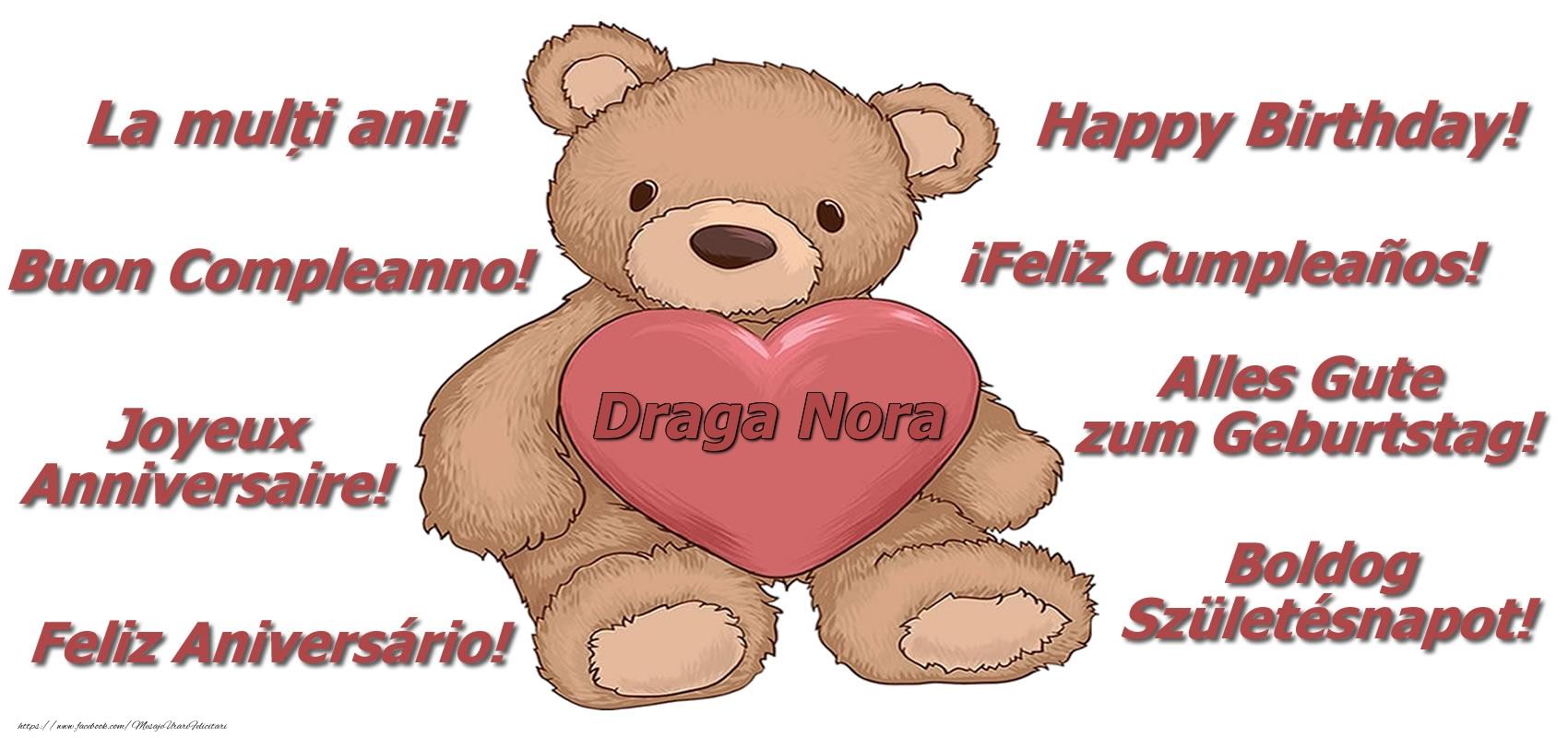 Felicitari frumoase de zi de nastere pentru Nora   La multi ani draga nora! - Ursulet