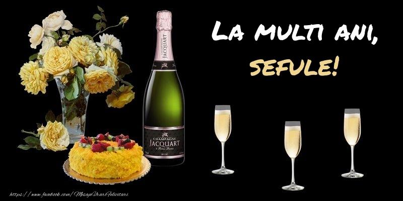 Felicitari frumoase de zi de nastere pentru Sef | Felicitare cu sampanie, flori si tort: La multi ani, sefule!