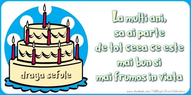 Felicitari frumoase de zi de nastere pentru Sef   La multi ani, sa ai parte de tot ceea ce este mai bun si mai frumos in viata, draga sefule