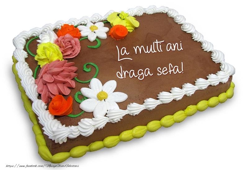 Felicitari frumoase de zi de nastere pentru Sefa   Tort de ciocolata cu flori: La multi ani draga sefa!