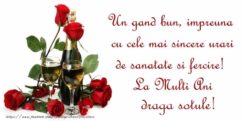 Felicitari frumoase de zi de nastere pentru Sot | Un gand bun, impreuna cu cele mai sincere urari de sanatate si fercire! La Multi Ani draga sotule!