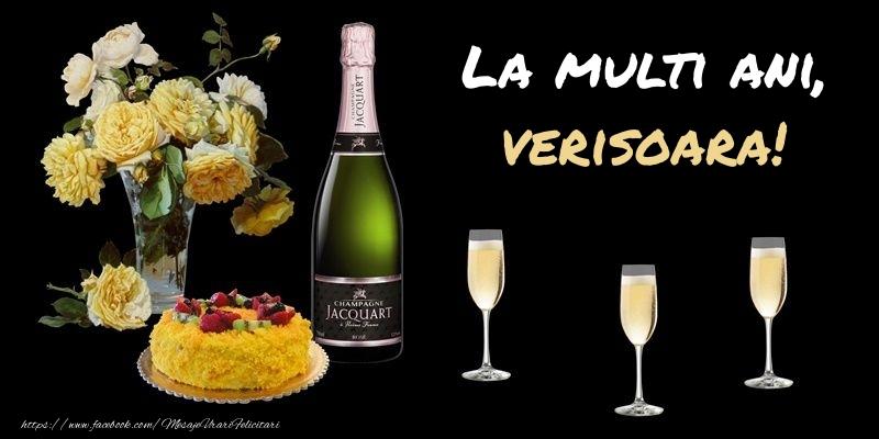 Felicitari frumoase de zi de nastere pentru Verisoara   Felicitare cu sampanie, flori si tort: La multi ani, verisoara!