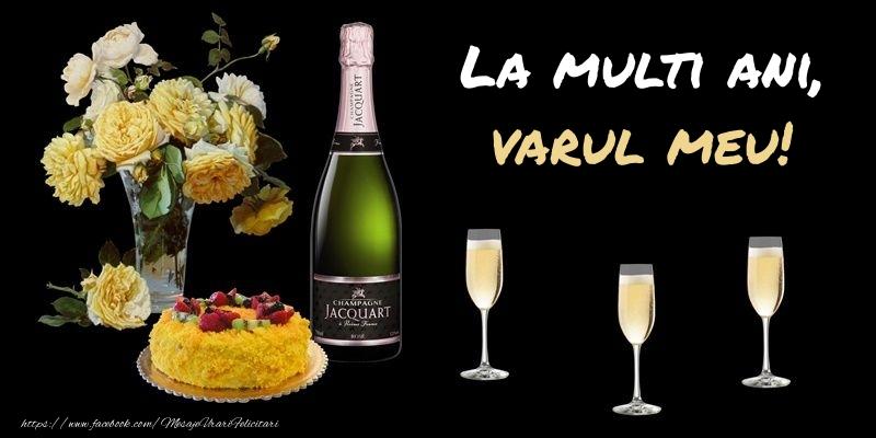 Felicitari frumoase de zi de nastere pentru Verisor | Felicitare cu sampanie, flori si tort: La multi ani, varul meu!